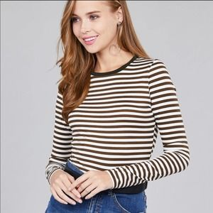 Brown Off White Stripe Long Sleeve Top Large